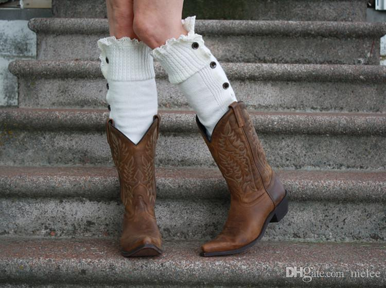 Livre fedex navio Natal mulheres botas de inicialização perna aquecedores de botão de renda inverno Leggings Warm up malha espartilho Gaiters pé capa joelho meias altas
