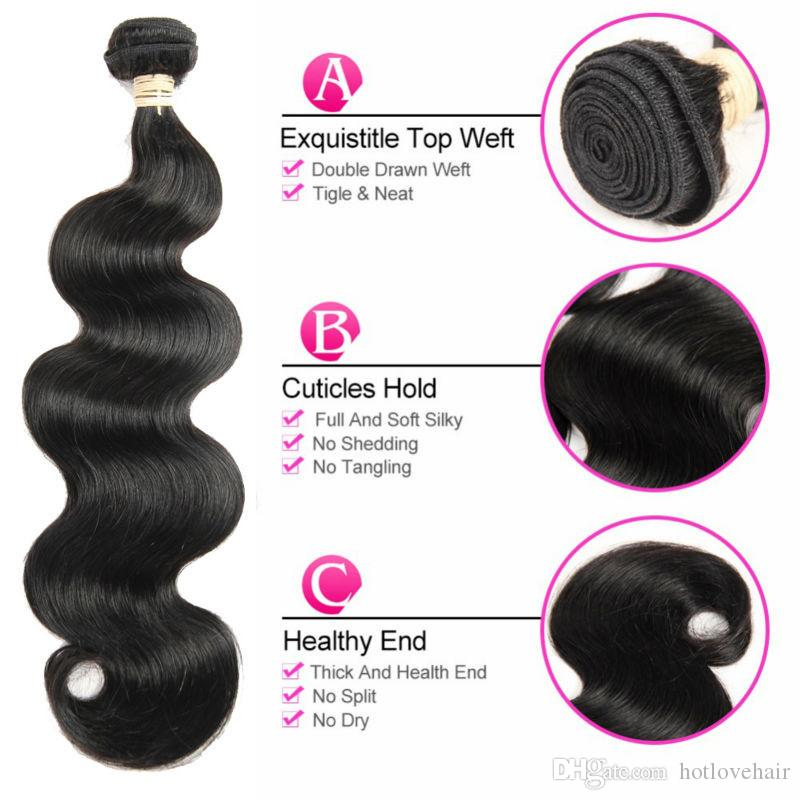 India Body Wave Lace Frontal Closure with 3 Bundle Hair 100% Raw Virgin Indian Human Hair With Frontal Ear to Ear