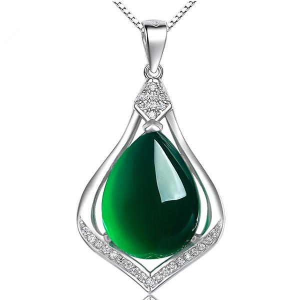 Natural green chalcedony 925 Sterling Silver Pendant Vintage Silver Necklace Korean silver jewelry manufacturers supply D-351