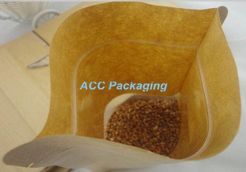 5,5 '' x 7,9 '' 14x20 cm Kraft Paper W / Clear Window Stand Up Pacchetto di imballaggio Borsa alimenti Caffè di stoccaggio risigillabile Zip Lock Bag