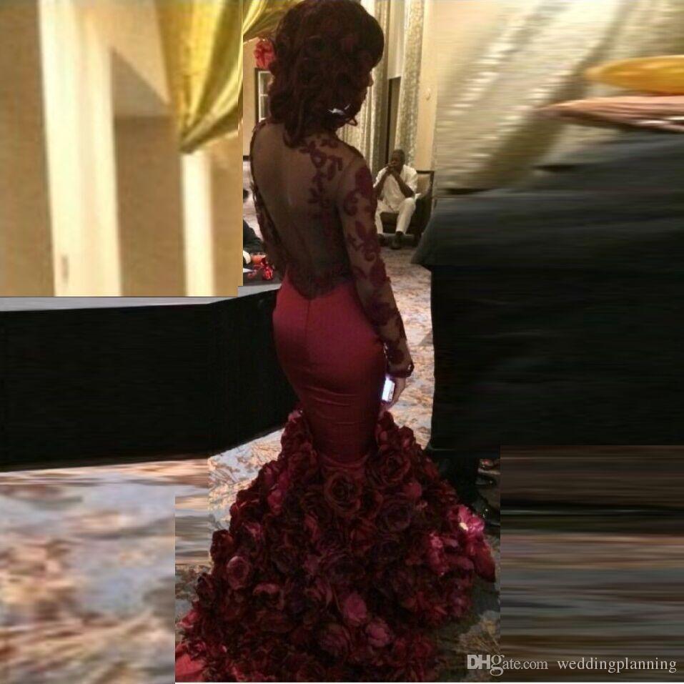 Romantyczny czerwony suknia wieczorowa Syrenka z różą kwiatowy ruffles Sheer Prom Suknia z aplikacją Długim rękawem Prom Dresses z Train Sweep