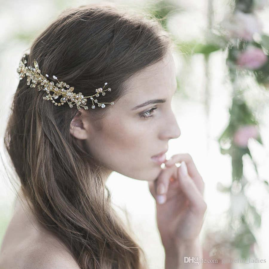 golden swarovski freshwater pearls headpiece wedding bridal hair