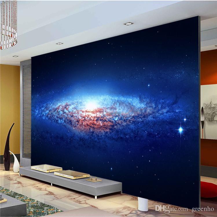 Custom Wall Mural charming blue galaxy photo wallpaper spiral nebula wallpaper