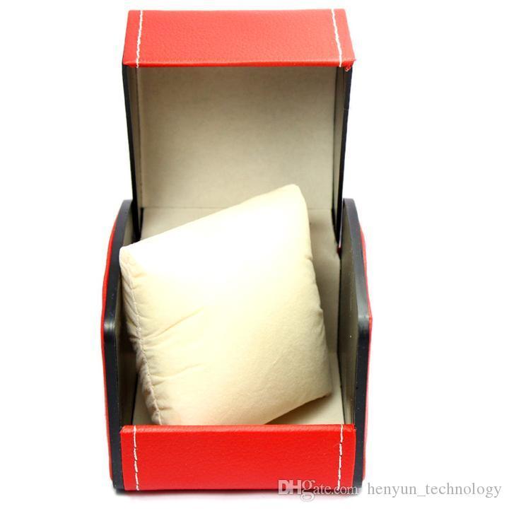 Caixa luxuosa nova 11 * 11CM da caixa de exposição do armazenamento do relógio do couro do plutônio das caixas de presente