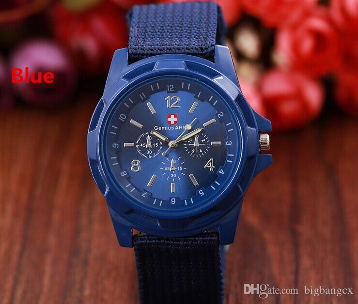 Cool Gemius Mens Watches Army Racing Force Military Sport For Men Fabric Band Knight Watch Sports Canvas Nylon Wristwatch