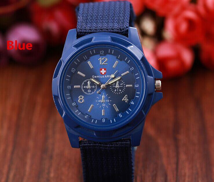 Legal gemio mens relógios exército força militar esporte militar para homens faixa de tecido cavaleiro relógio esportes lona nylon relógio relógio de pulso