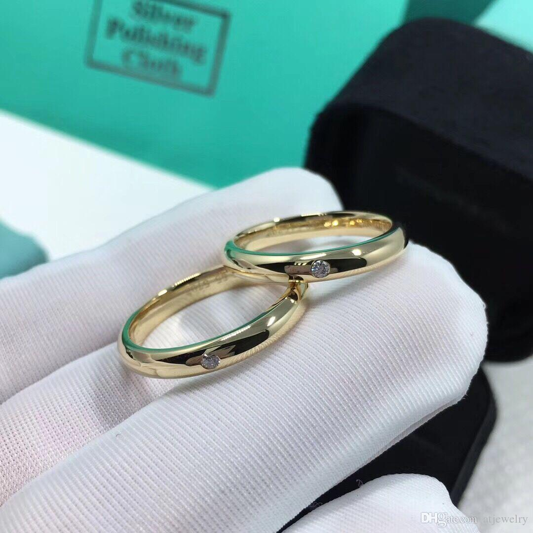 Factory 18K yellow Real solid gold couple rings Natural diamond engagement rings for couple rings custom ring wholesale with certificate