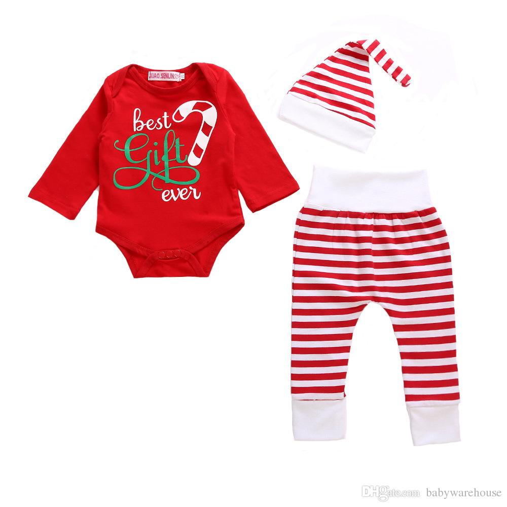 2018 christmas pajamas baby romper topslong pantshat kids outfits set cute newborn baby girl boy jumpsuit playsuit infant toddler clothes from