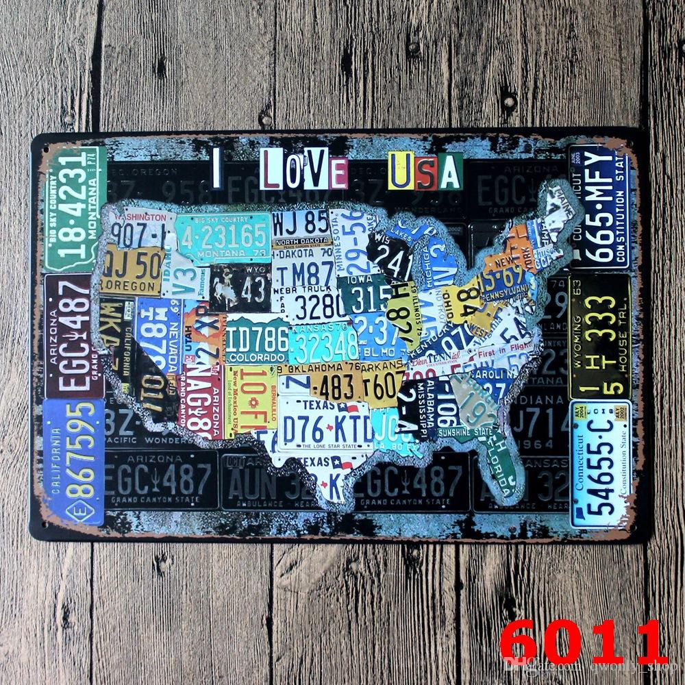 License plates map vintage tin sign bar pub home wall decor license plates map vintage tin sign bar pub home wall decor european crafts world map american flag retro stamps metal art poster discount wall decals sciox Choice Image