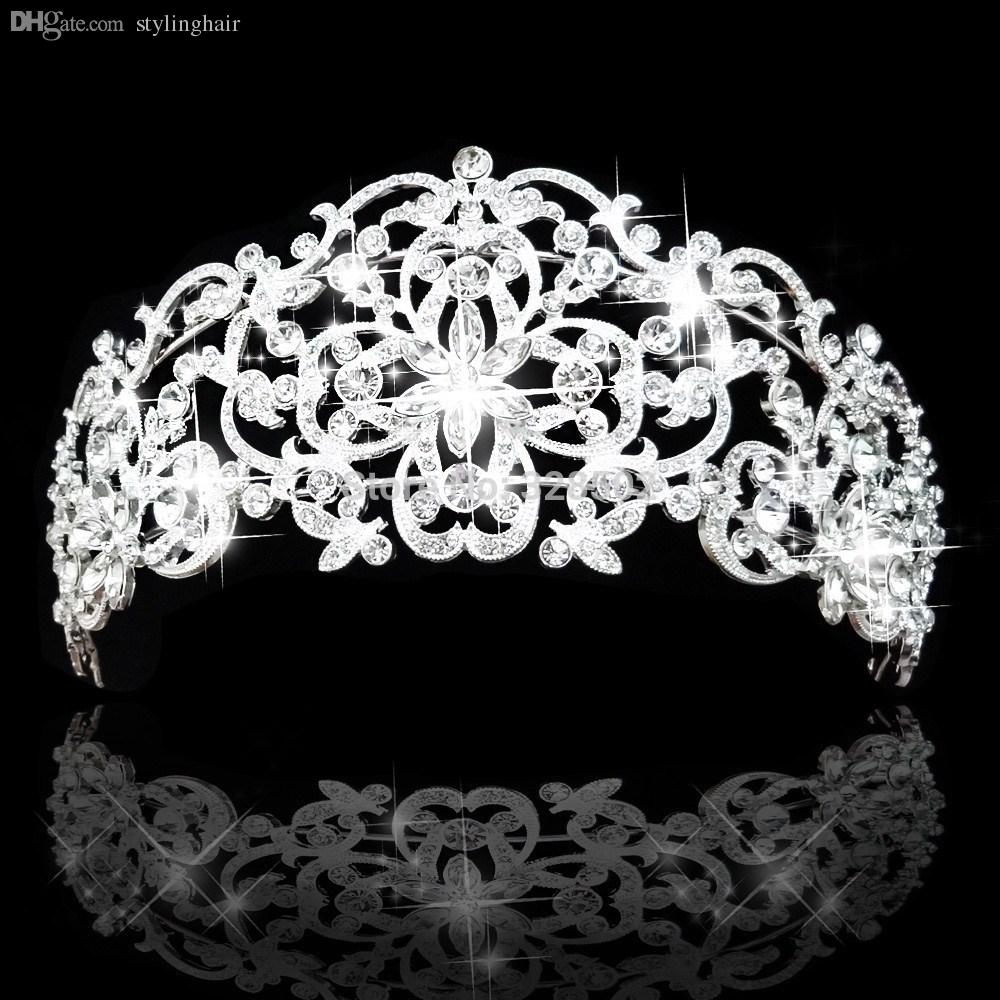 Wholesale new fashion tiara and crown princess crown bride head piece for wedding bride quinceanera tiaras cy 015 hair ornaments for brides hair pieces for