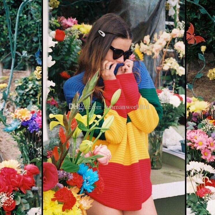 Nouvelle Arrivée Mode 2015 Automne Hiver Femmes À Manches Longues Casual Lâche Arc-En-Rayé Tricoté Chandail Dames Automne Pulls Tops