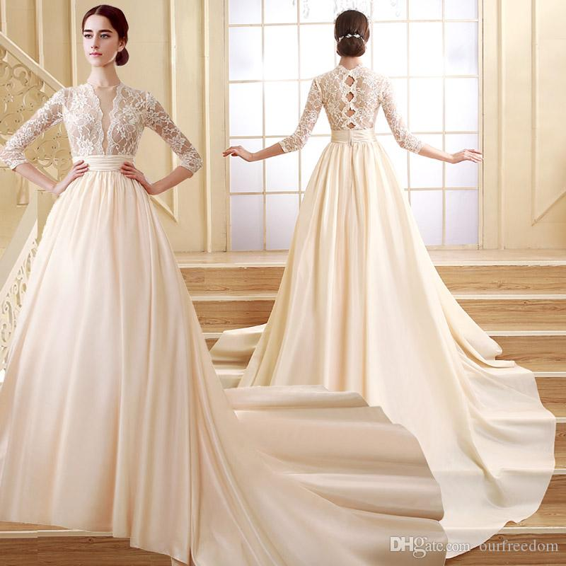 ZCL02 Cheap Illusion Bodice Lace 3/4 Long Sleeve Wedding Dresses ...