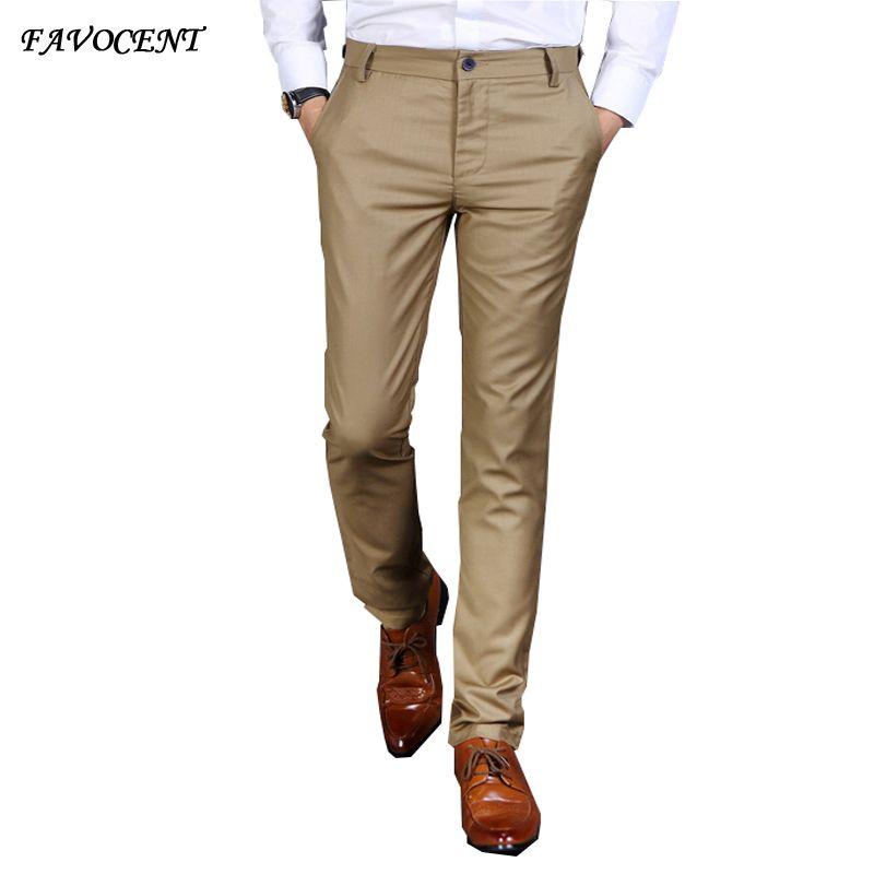 70e52917fbc Wholesale- Plus men s long trousers 2017 commercial trousers male casual  pants straight slim casual western-style Full men s pants khaki