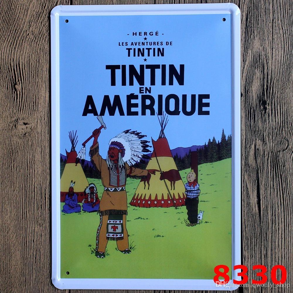 Tenten Maceraları Vintage Poster Karikatür Retro Dekoratif Resim Tabela Demir Metal Duvar Boyama Ev Sanat Duvar Dekor