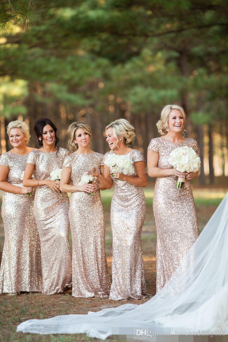 Bling Bling Sequined Mermaid Bridesmaid Dresses Short Sleeve Backless Floor-Length Beach Wedding Guest Dress Cheap Bride Gowns