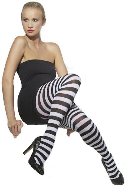 Black And White Striped Tights For Adult Women Halloween Costume ...