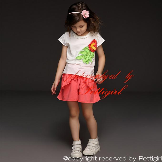 Pettigirl New Summer Girl Clothing Set White Cotton Shirt With Corsage And Pink Shorts Kids Suits Fancy Children Clothes CS40322-3