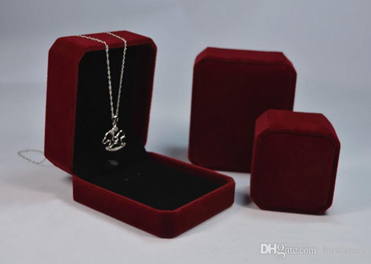 Alta qualidade 8 * 7 * caixas de presente caixas de jóias caixa de caixa de quatro centímetros de veludo colar de pingente cajas de regalo Caixas Para Presente 0015PACK atacado