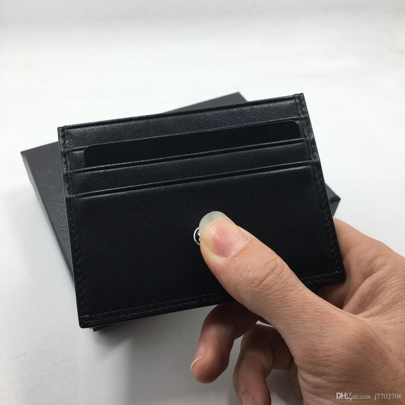 Titular de la tarjeta de crédito de cuero genuino negro Hombres de negocios de alta calidad delgado caso de la tarjeta bancaria 2017 nuevas llegadas de la tarjeta de identificación de moda monedero envío gratis