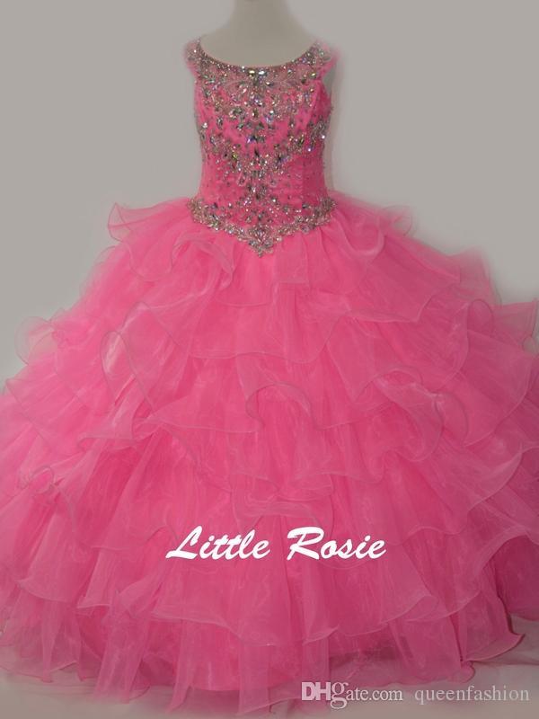 Little Rosie Kids Abiti da sera Scoop Neck Perline di cristallo Strass Diamanti Verde menta Bambini Abiti da spettacolo Abiti da ballo ragazze Vestito da ballo