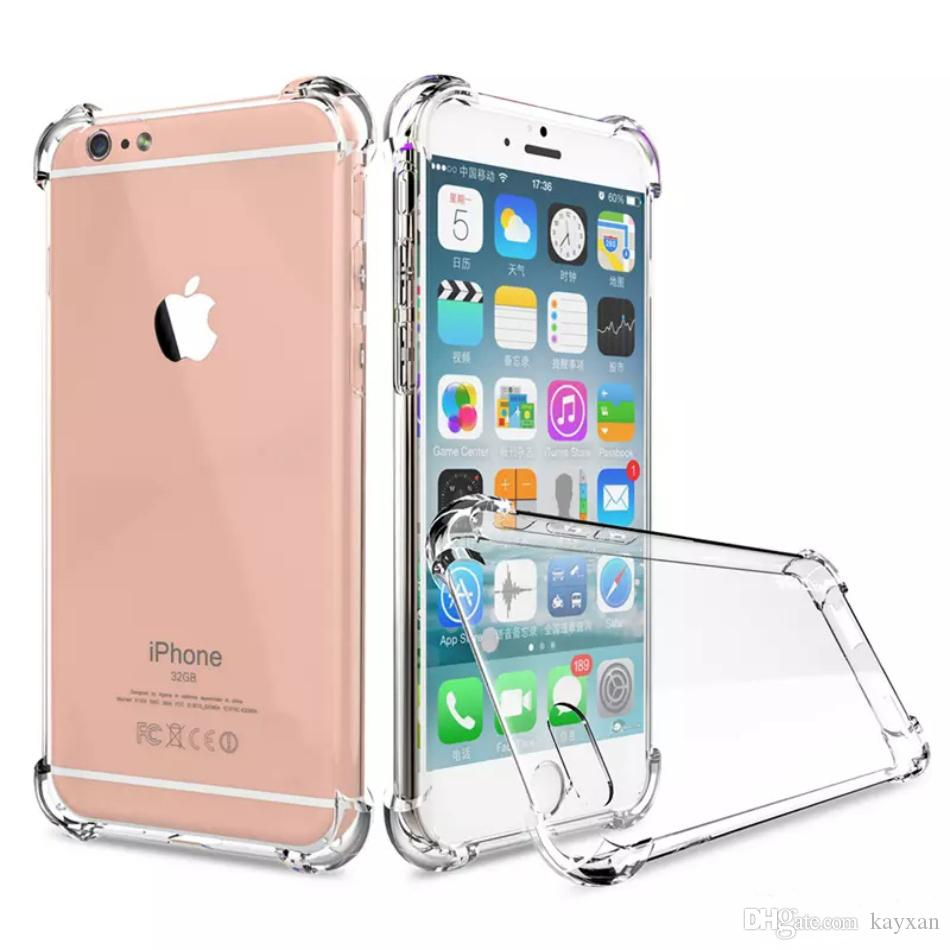 new style 98638 cf1ce 4 Corner protective Transparent TPU phone case for iPhone 6s Plus Cellphone  Case Waterproof Cover Cases for Galaxy S8 gift 1 pcs glass