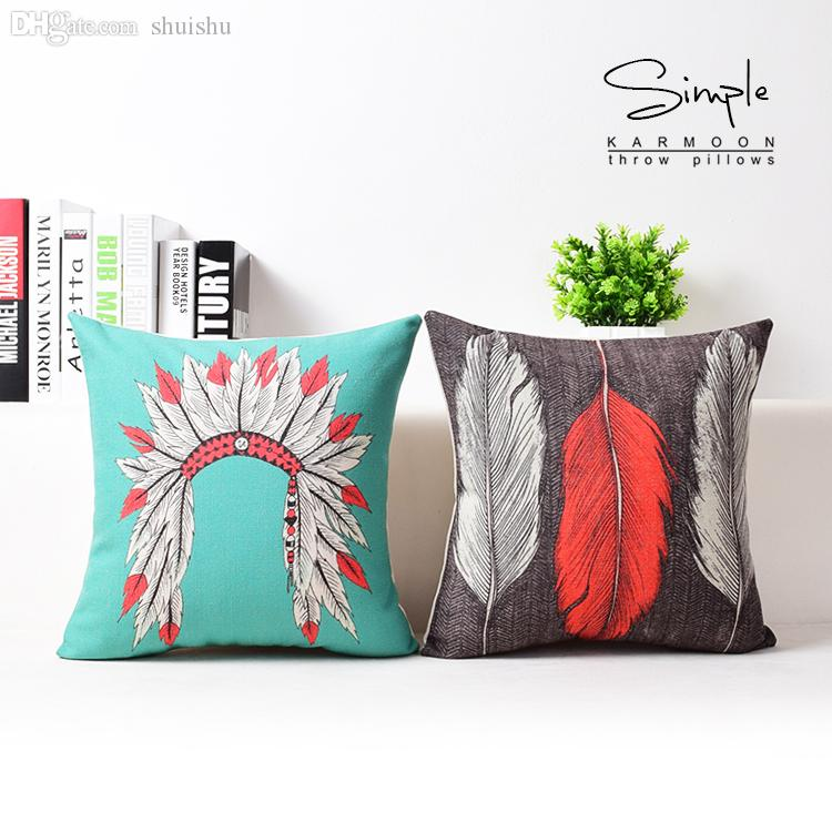 WholesaleIndian Pillow Case Native American Indian Style Headdress Fascinating Native American Decorative Pillows