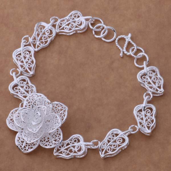Красивый цветочный дизайн стерлингового серебра 925 Шарм браслеты мода классические ювелирные изделия партии подарок для женщины заводская цена бесплатная доставка