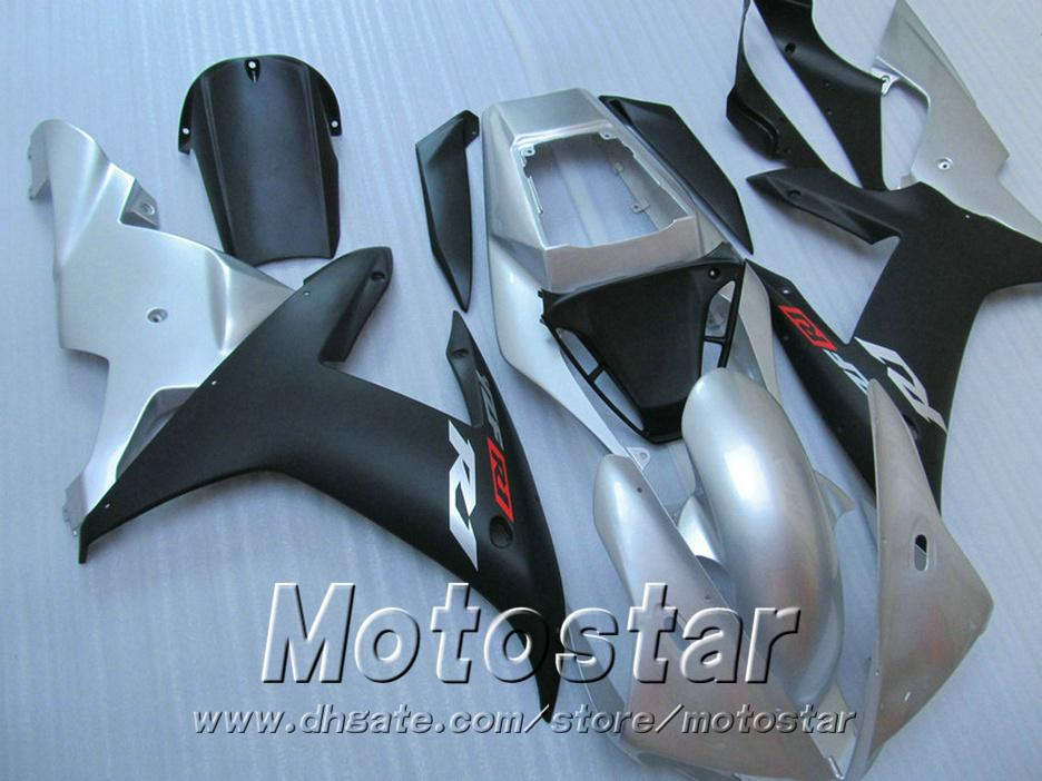 Injection mold ABS full fairing kit for YAMAHA R1 2002 2003 matte black silver fairings set 02 03 yzf r1 LQ12