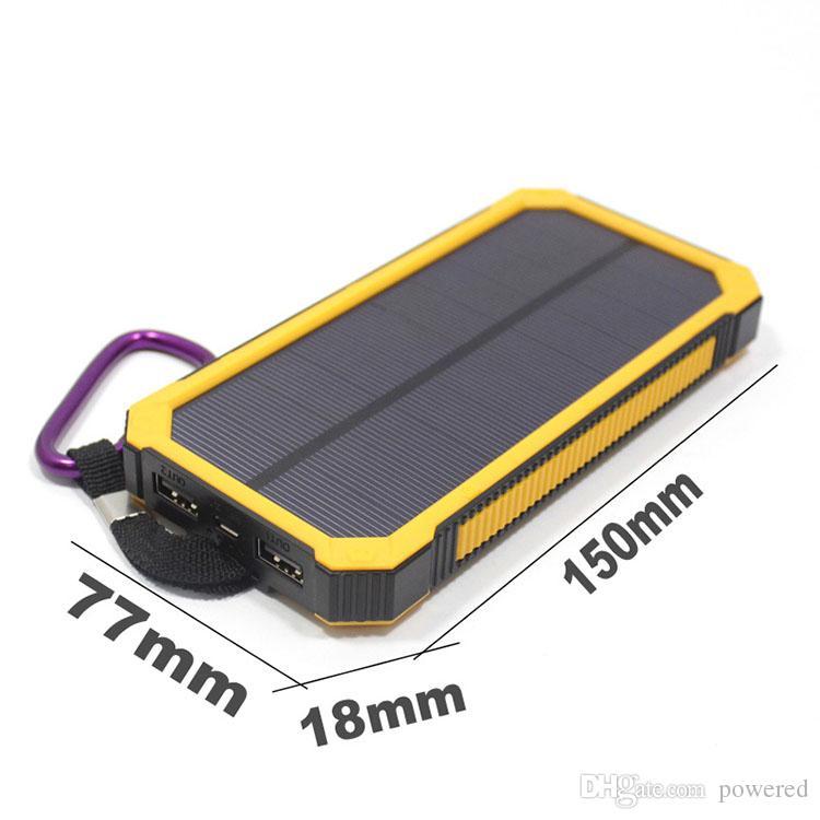 20000mAh Nouvelle banque d'énergie solaire Highlight LED Banques d'énergie solaire 2A Sortie de téléphone portable Chargeur Portable Powerbank solaire