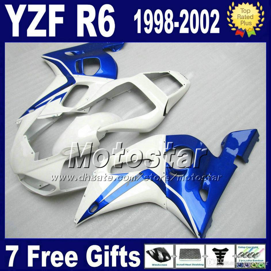 Darmowa wysyłka Wróżki Zestaw dla Yamaha YZF-R6 1998-2002 YZF 600 YZFR6 98 99 00 01 02 Blue White Fairing Ciała Zestawy VB92
