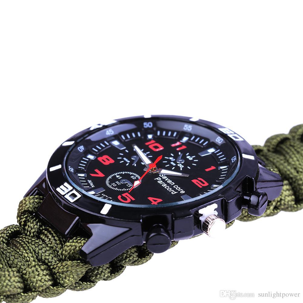 야외 기어 전술 멀티 야외 야영 서바이벌 팔찌 시계 나침반 구조 로프 Paracord 장비 도구 키트 야외 가제트