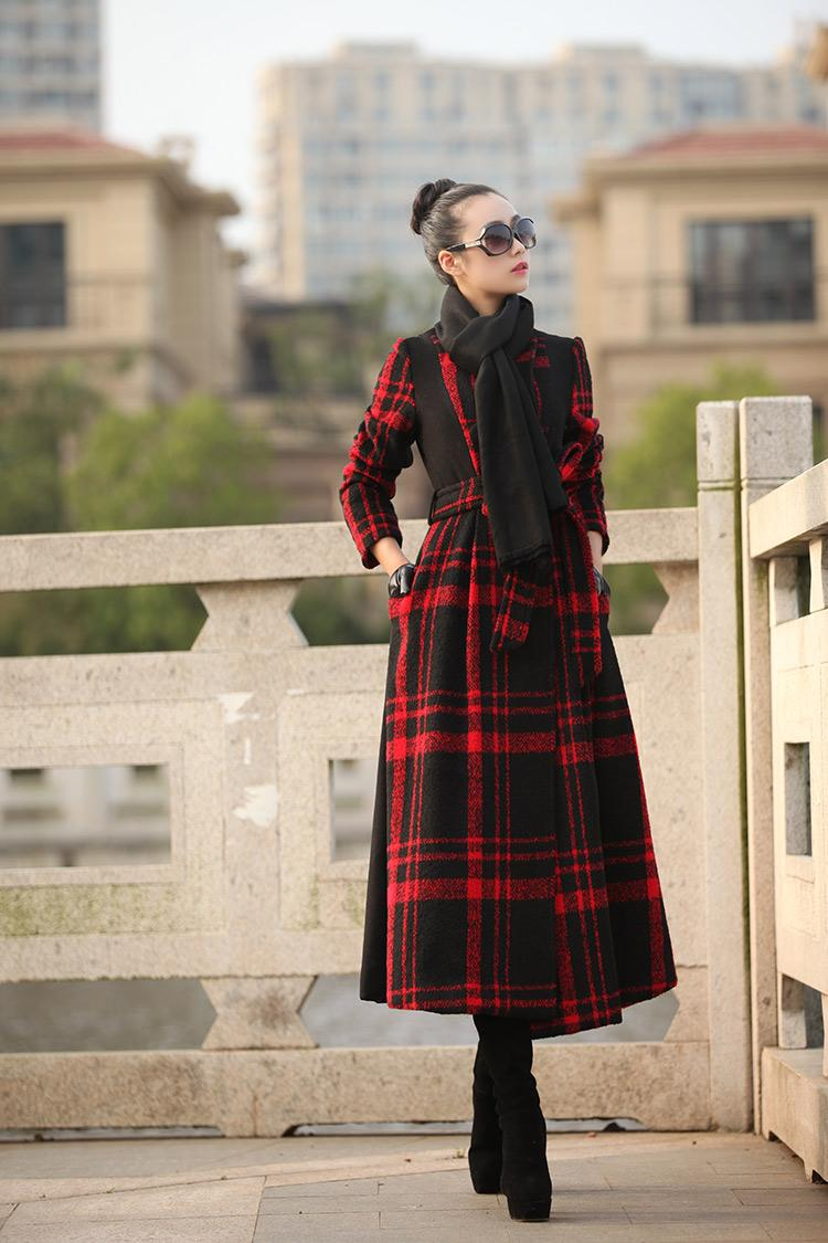 discount fashion 2016 new women 39 s long plaid coat vintage. Black Bedroom Furniture Sets. Home Design Ideas
