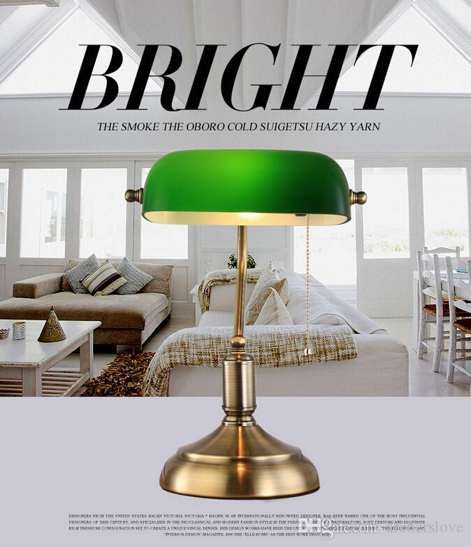 Best Vintage Library Table Lamp Bedside Desk Light Home Shade Lighting  Glass Bedroom Antique Study Lamp D280*h380 3 Watt Led Bulb Led Dimmable  Bulbs From ...