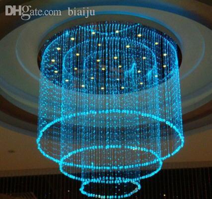 Wholesale Fiber Optic Lamp Colorful Curtain Cylindrical Crystal Chandelier Star Ceiling Lights Light Engine Dmx Gu10