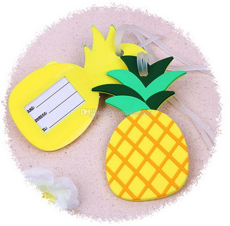 Pineapple Shaped Rubber Luggage Tag Suitcase Label Travel Card Wedding Favor Party Gift + DHL