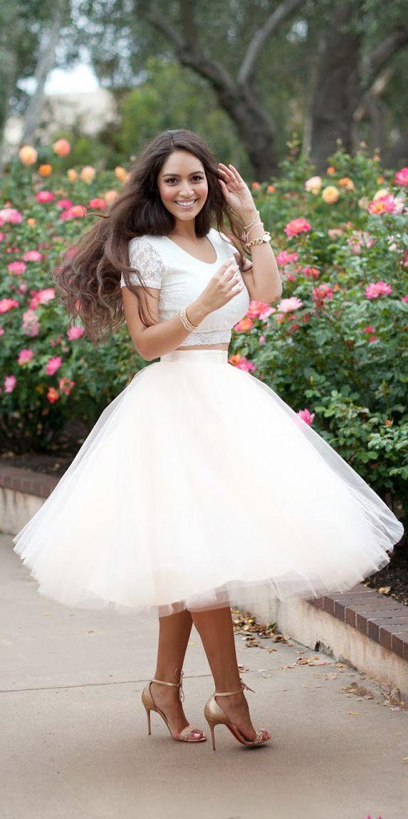2015 faldas del tutú del tul blanco de la primavera mujeres adultas mujeres adultas del verano de la vendimia princesa Lady faldas hasta la rodilla blancas