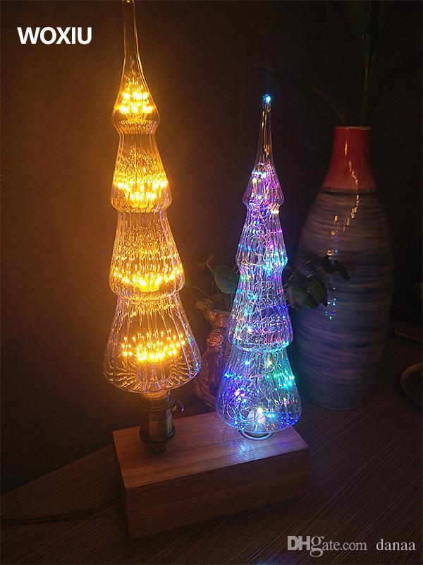WOXIU 크리스마스 트리 빈티지 유리 빈티지 필라멘트 전구 에디슨 레트로 램프 하늘 별 따뜻한 크리스마스 화이트 데이 장식