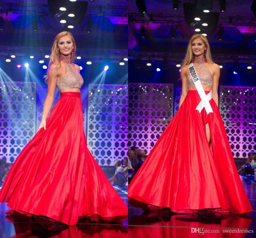 Compre 2015 Miss Teen Prom Vestidos De Cuello Alto Dos Piezas ...