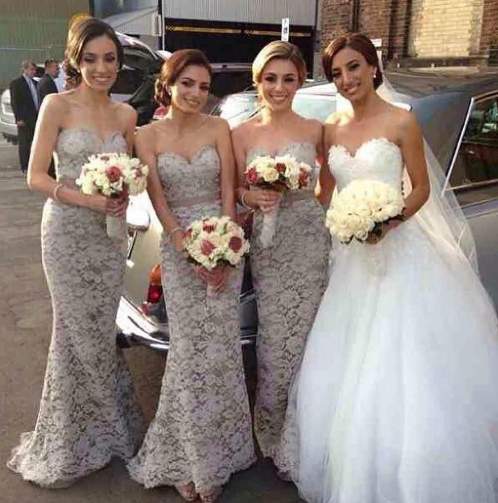 Beautiful gray lace bridesmaid dress with sexy sweetheart neckline beautiful gray lace bridesmaid dress with sexy sweetheart neckline and ribbon sash design vestido de festa long bridesmaid dress custom made short gown ombrellifo Image collections