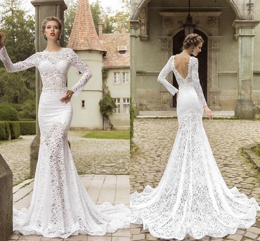 Elegant Slimming Wedding Dresses Long Sleeves Mermaid Sweep Train ...