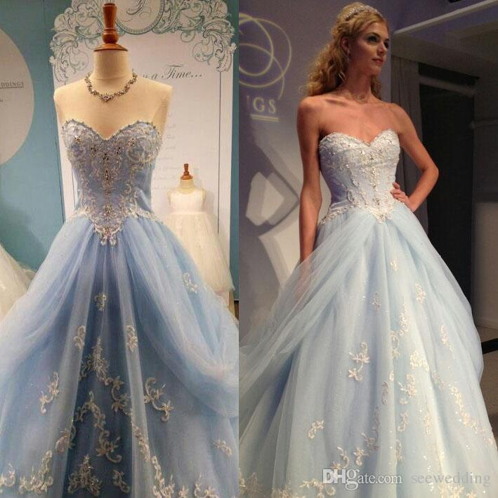 Discount Dreamlike Light Blue Wedding Dresses Sweetheart With Gold ...