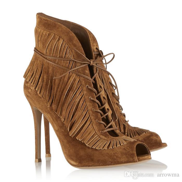 2015 Brun Femmes Sandales Pas Cher Modeste D'été Automne Chaussures Nouvelle Arrivée Élégant Dentelle À Glands Haute Talons Mince En Stock Livraison Gratuite Chaud