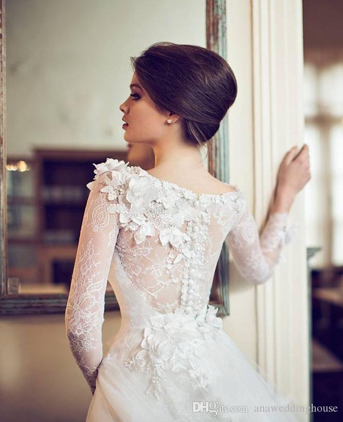 Vestidos de novia de manga larga Sheer Neck A Line Sweep Train Applique Lace Vintage Garden Vestidos de novia en primavera verano