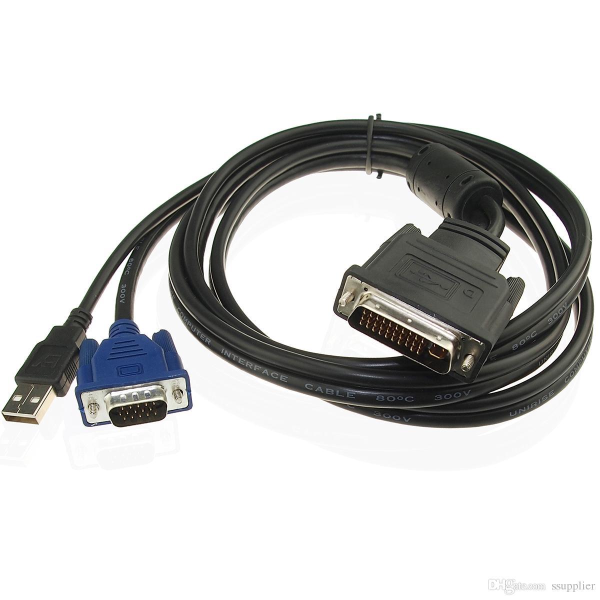 DVI M1-DA 30 + 5 Pin auf 15Pin VGA USB-Projektorkabel 1,8M Schließen Sie den LCD-Monitor mit 30 + 5Pin-Schnittstellenkarte an 30 + 5 Pin Male