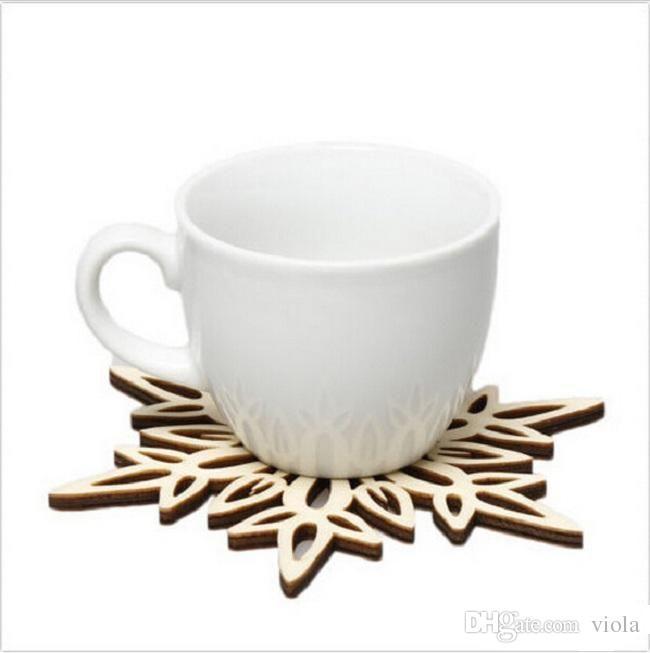 Wooden Snowflake Mug Coasters Holder Chic Drinks Coffee Tea Cup Mat Decor Mats