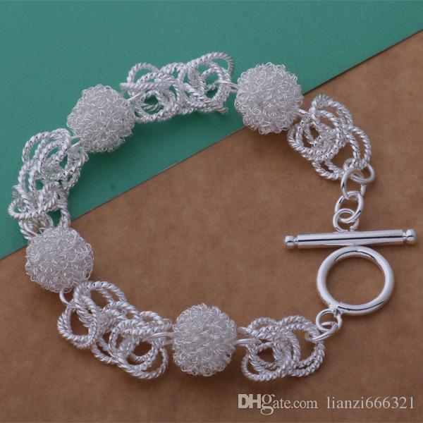 Producent biżuterii 925 Sterling Silver Silver Bransoletki Moda Biżuteria Mesh Ball Toggle Bransoletki Biżuteria Silver Cena