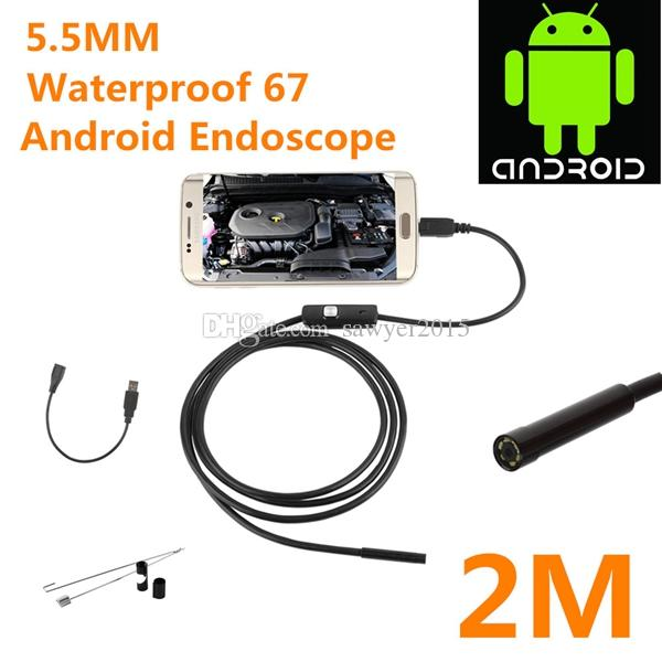 "7MM 2M Focus Camera Lens USB Cable Waterproof 6 LED Android Endoscope 1/9"" CMOS Mini USB Endoscope Inspection Camera Mirror GIFT"