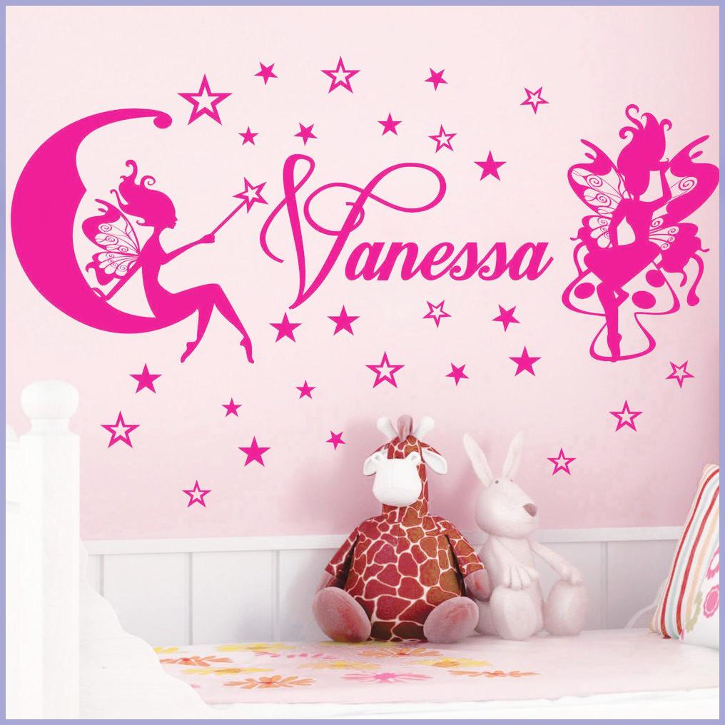Customer Made Fairies Little Star Personalized Name Kids Wall Stickers Art Vinyl Decals Decor Girl Room Headboard Decal Heart From