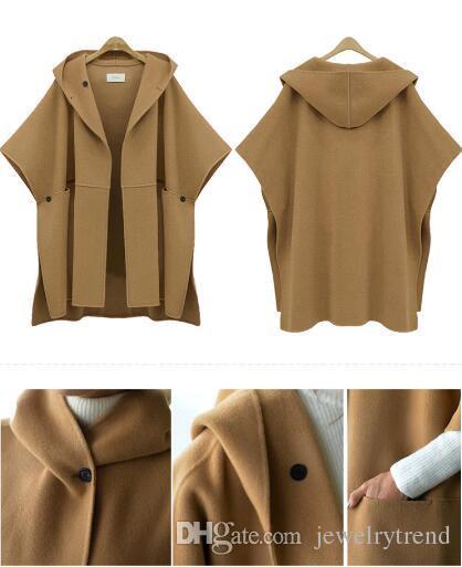 زائد الحجم جديد الخريف الشتاء المرأة الصوف يمزج معطف عباءة المعطف معطف مقنع فضفاض قمم أبلى كيب معاطف 3 ألوان C3230