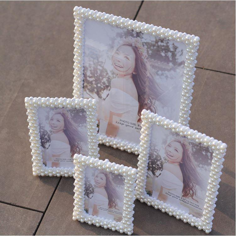 6 Crystal Pearl Photo Picture Frame Diamond Bowknot: 2017 Pearl Photo Frame Handmade Crystal Diamond Rhinestone